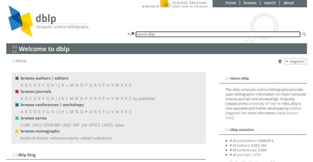 dblp academic research databases
